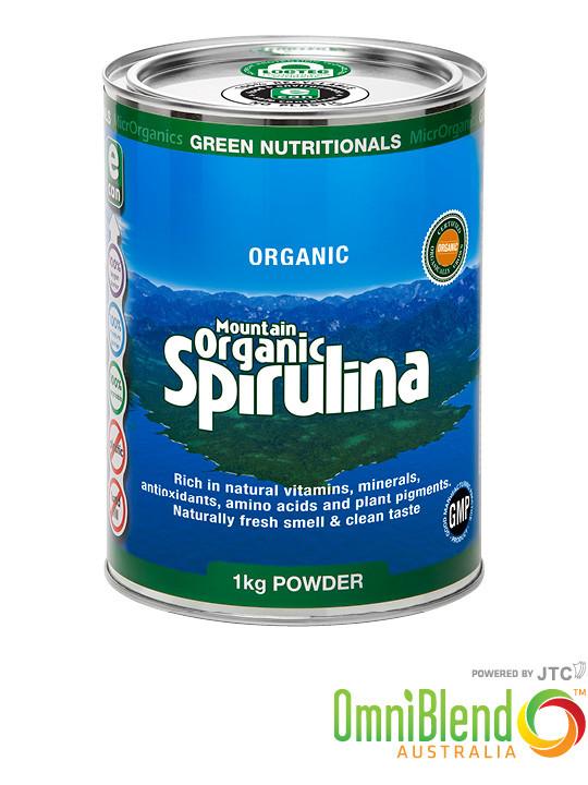 OmniBlend Australia Superfood Superstore MicrOrganics Green Nutritionals Mountain Organic Spirulina Powder 1kg