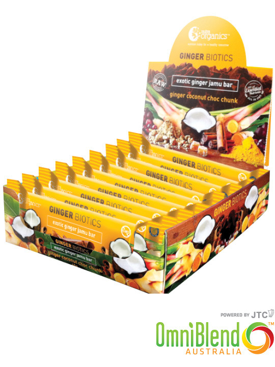 OmniBlend Australia Superfood Superstore Nutra Organics Ginger Biotics Exotic Ginger Jamu Bar 12 Pack