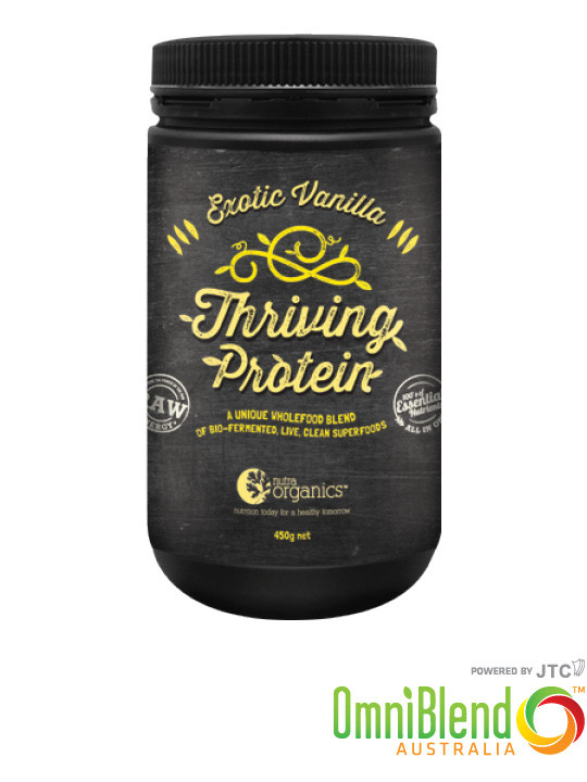OmniBlend Australia Superfood Superstore Nutra Organics Thriving Protein Exotic Vanilla 450g
