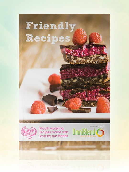 OmniBlend Australia's Friendly Recipes hard copy blender recipe book FREE with every blender purchase
