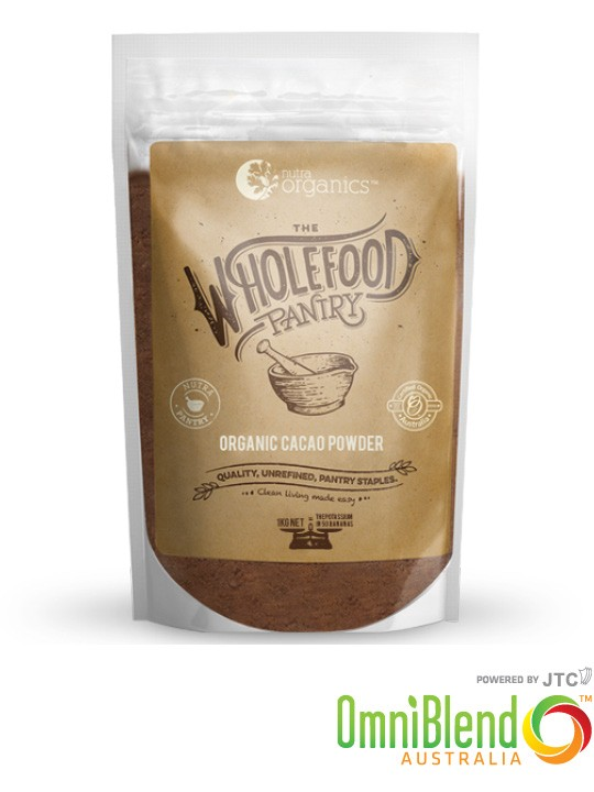OmniBlend Australia Superfood Superstore Nutra Organics The Wholefood Pantry Organic Cacao Powder 1kg